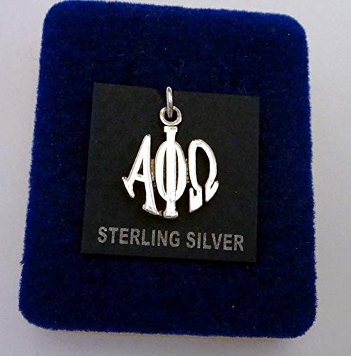 Sterling Silver 17x14mm Greek Fraternity Alpha Phi Omega Circle Drop Charm Vintage Crafting Pendant Jewelry Making Supplies - DIY for Necklace Bracelet Accessories by CharmingSS