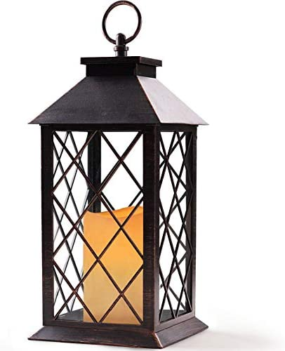 Bright Zeal 14 Tall Vintage Candle Lantern with LED Flickering Flameless Candles and Timer Distressed BRONZE – LED Candle Lanterns Decorative – Indoor Outdoor Hanging Lights – Candles Holders BZS