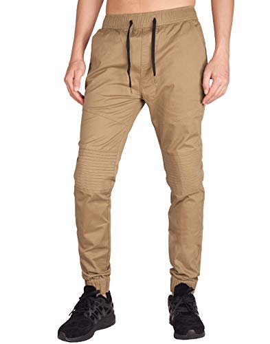 ITALY MORN Men's Chino Jogger Skateboard Pant Twill Athletic Fit (XS, Dark Khaki)