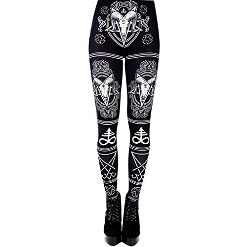 Dressin Women Print Yoga Pants Ladies Fashion High Waist Long Pants Gothic Pants Sport Running Yoga Leggings Black