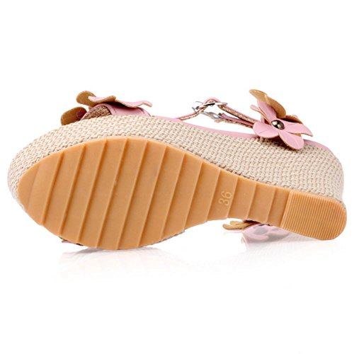 COOLCEPT Mujer Moda Al Tobillo Sandalias Punta Abierta Slingback Tacon de Cuna Zapatos With Flor Rosado