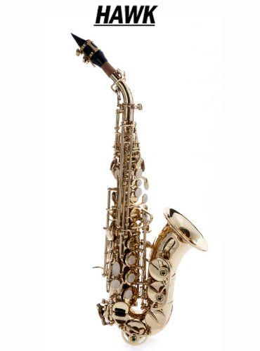 Hawk Curved Soprano Saxophone Gold with Case, Mouthpiece and Reed by Hawk