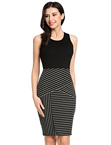 Beyove Women's Sexy Patchwork Striped Sleeveless Wear to Work Business Bodycon Pencil Dress