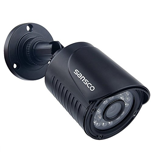 SANSCO True 720p CCTV Security Camera (Bullet), 1MP High Definition, 3.6mm Lens Wide Angle, Improved Day/Night Vision, Waterproof & Vandalproof, Indoor/Outdoor Use