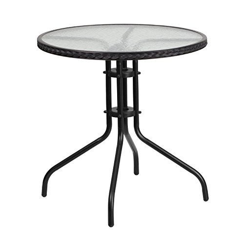 Flash Furniture 28'' Round Tempered Glass Metal Table with Black Rattan Edging by Flash Furniture