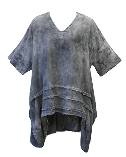 Oh My Gauze Women's Geneva Tunic One Size Plus Oversized (One Size, Washed Black)
