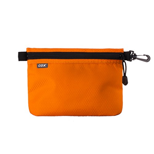 GOX Carry On Zipper Pouch Toiletry Bag Packing Sack Makeup Bag Digital bag-Size Small (Orange)