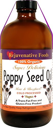 Rejuvenative Foods Virgin & Unrefined Certified Organic Pure and Fresh Raw Completely Low-Temp Pressed and Processed Food Grade Edible Culinary Poppyseed Oil-4 oz