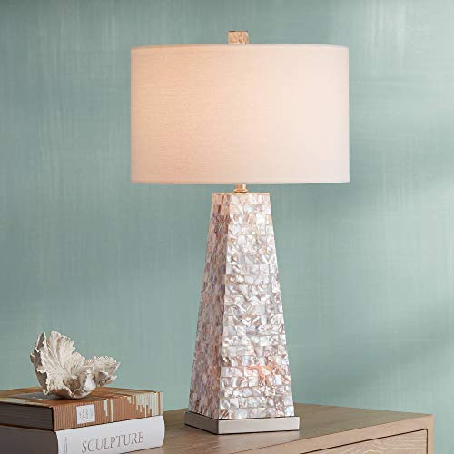 Lorin Modern Table Lamp with Nightlight Pearl Tile Square Tapered Base Drum Shade for Living Room Family Bedroom - Possini Euro Design (Shade Pearl Of Lamp Mother)