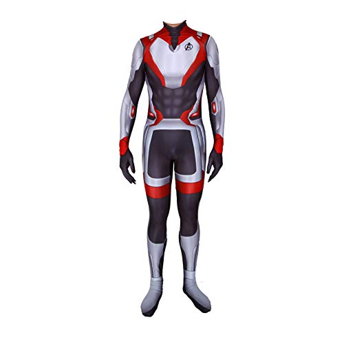Unisex Lycra Spandex Zentai Halloween Avengers Endgame Quantum shirt Cosplay Costumes Adult/Kids 3D Style (Adults-L) Black and White