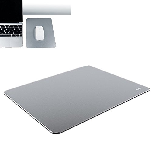 Aluminum Mouse Pad,MeiLiio Non-Slip with Anti-Skid Rubber Base,Ultra Thin Waterproof Gaming Mouse Mat Aluminium Surface for Fast and Accurate Control Compatible Any Optical Laser Mice Gamer or Desktop Pro Gamer Command Pad