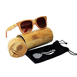 Maple Wood Sunglasses - 100% Polarized Lenses in a Handmade Wooden Wayfarer that Floats! 97 HANDMADE WOODEN FRAME SUNGLASSES - Handmade with 100% natural maple wood (stronger and more durable than bamboo sunglasses) - every pair is as unique as you are! ENVIRONMENTALLY FRIENDLY and SUSTAINABLE - Crafted from real maple wood (unused scrap from skateboards) in stylish brown, black and natural finishes. PLUS 5 trees planted for every purchase! DESIGNER POLARIZED LENSES - Polarized lenses for superhero sharp vision and UV400 rated sun protection. STAINLESS STEEL DOUBLE SPRING LOADED HINGES - Smooth spring loaded temples for an easy, comfortable fit for both men and women.