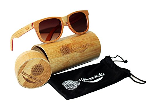 Handmade Maple Wood Sunglasses - Polarized UV400 Lenses in a Wooden Wayfarer that Floats! 1 ✅HANDMADE WOODEN FRAME SUNGLASSES - Handmade with 100% natural maple wood (stronger and more durable than bamboo sunglasses) - every pair is as unique as you are! ✅ ENVIRONMENTALLY FRIENDLY and SUSTAINABLE - Crafted from real maple wood (unused scrap from skateboards) in stylish brown, black and natural finishes. PLUS 5 trees planted for every purchase! ✅ DESIGNER POLARIZED LENSES - Polarized lenses for superhero sharp vision and UV400 rated sun protection. STAINLESS STEEL DOUBLE SPRING LOADED HINGES - Smooth spring loaded temples for an easy, comfortable fit for both men and women.
