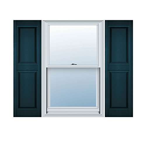 Ekena Millwork LP2S14X03900MB Lifetime Vinyl Standard Two Equal Raised Panel Shutters, 14 3/4
