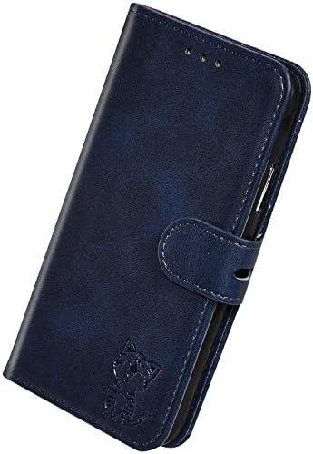 Herbests Kompatibel mit Samsung Galaxy A6S Hülle Klapphülle Leder Tasche Flip Schutzhülle Wallet Handyhülle 3D Cool Katze Brieftasche Klappbar Hülle Book Case Kartenfächer Magnetisch,Blau