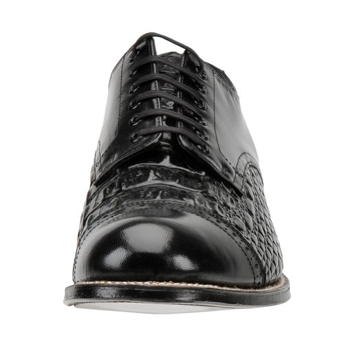 Stacy Adams Hombres Madison Lizard Print Oxford Black Leather