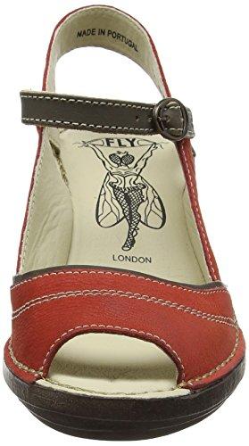Fly London P300659008, Sandalias de Cuñas Mujer Rojo (Scarlet/Khaki 001)