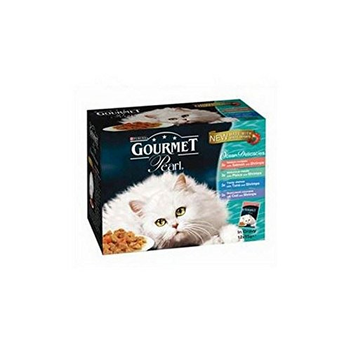 Gourmet Perle Adult Cat Food Ocean Delicacies 85g 12 Pack (1.02kg) (Pack of 4)
