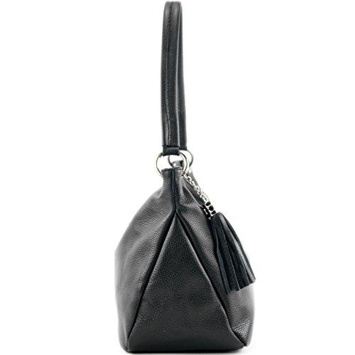 de genuino Bolsa de Negro de de cuero piel Funda cuero modamoda hombro Bolsa T154 YaSq6