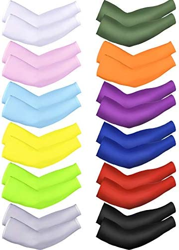 Bememo 12 Pieces Unisex UV Protection Sleeves Long Arm Sleeves Cooling Sleeves Ice Silk Arm Cover Sleeves
