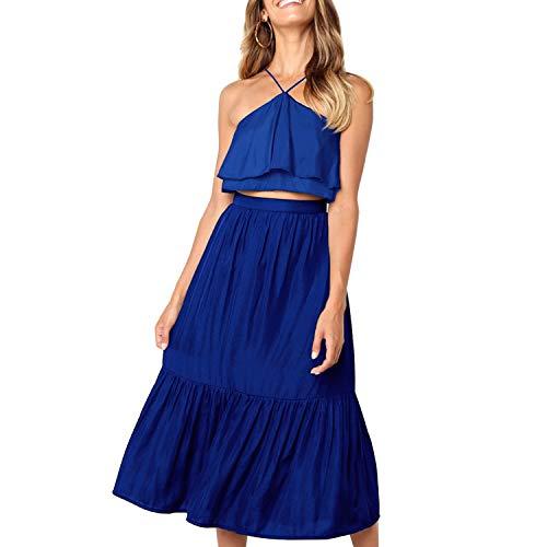 Women's Elegant Halter Backless Ruffle Crop Top High Waist Maxi Skirt Set 2 Piece Cocktail Party Long Dress Summer Outfit Beach Sundress (Large, Blue)