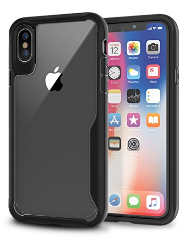 iPhone X Case, KROMA Black Bumper with Crystal Clear Back Panel iPhone X Case, 99.9% Transparency, Clear back panel + Black TPU bumper