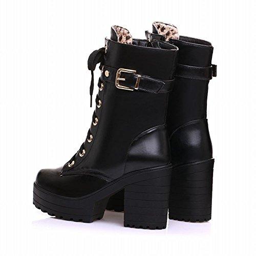Carolbar Women's Western Concise Platform High Heel Buckle Riding Boots Black q8xU2MHMJo