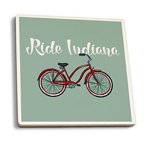 (Lantern Press Ride Indiana - Beach Cruiser Bike (Set of 4 Ceramic Coasters - Cork-Backed,)
