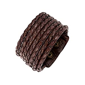 Zivom® Chocolate Brown Adjustable Leather Bracelet For Men