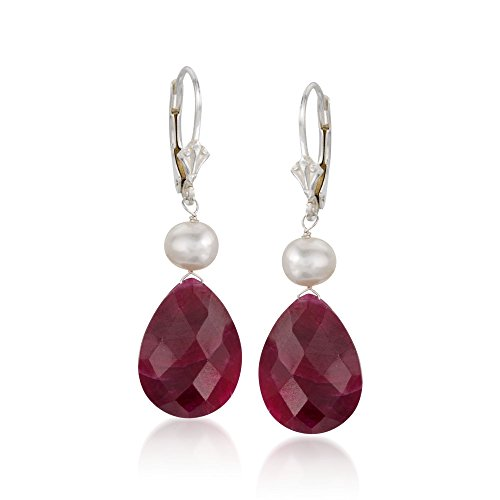 And Pearl Ruby - Ross-Simons 20.00 ct. t.w. Ruby and Cultured Pearl Drop Earrings in Sterling Silver