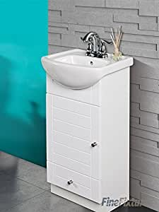 SMALL BATHROOM VANITY CABINET AND SINK WHITE