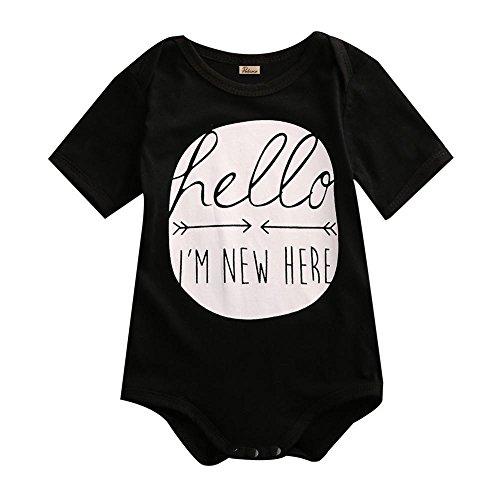 Here Onesie (Onesie Newborn Baby Boys/Girls Hello I'm New Here Black Short Sleeve Bodysuit)
