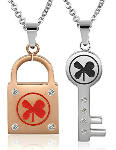 Daesar His & Hers Necklace Set Couples Stainless Steel CZ Key Four Leaf Clover Pattern Lock & Key - Store Ironman Australia
