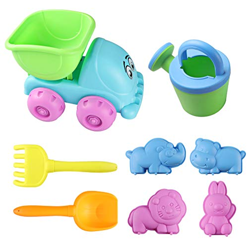 DX DA XIN Sand Beach Toys for Kids, Toddler Outdoor Pool Bath Play Set Plastic Sandbox Toys with Sand Toys Trucks, Buckets, Shovels, Molds and Rakes for Boys Girls (8pcs) ()