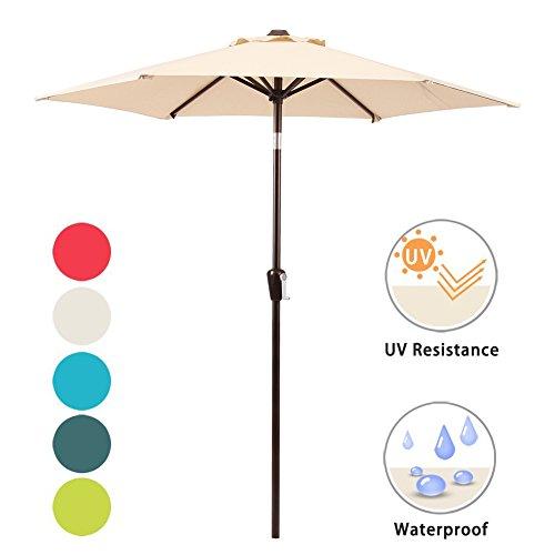 DOMI OUTDOOR LIVING Patio Umbrella, 7' Outdoor Table Market Umbrella with Push Button Tilt/Crank, 6 Ribs, Beige by