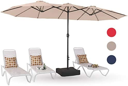 PHI VILLA 15ft Patio Umbrella Double-Sided Outdoor Market Extra Large Umbrella with Crank, Umbrella Base Included Beige