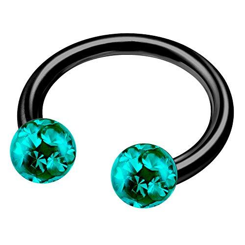 Anodized Titanium 1/2 12mm Circular Barbell 14g Piercing Jewelry Cartilage Tragus Helix 4mm Blue Zircon Ferido Crystal M5322