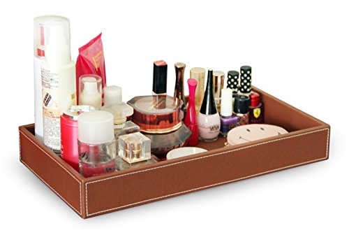 Leather Vanity Case (Ms.Box Faux Leather Valet Tray Organizer, Makeup Catchall Tray, Cosmetic Holder Desktop Organizer for Home and Office, Brown, 14 x 7.5 x 1.6 inches)