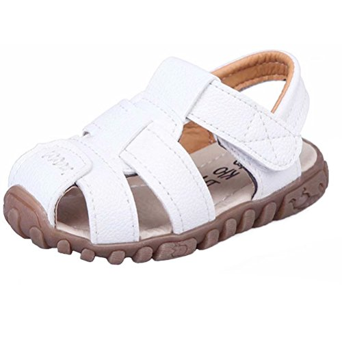 Boy Outdoor Sport Casual Closed-Toe Sandals Soft Sole Shoes (Toddler/Little Kid)-21(White-1) …