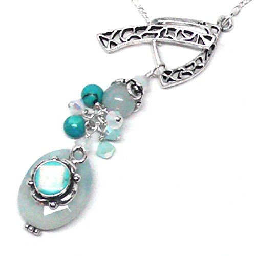 Aquamarine Turquoise Lab Opal Sterling Silver Cluster Drop Necklace Chain ()
