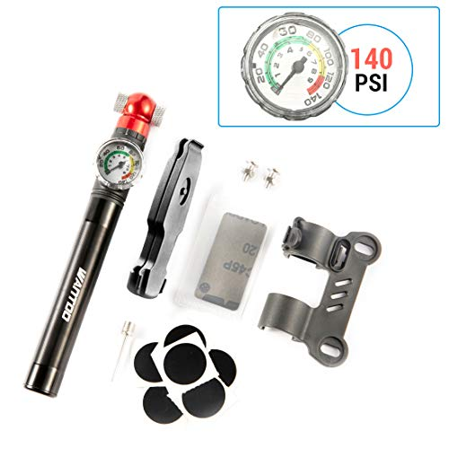 Wantdo Portable Bike Pump with Accurate Pressure Gauge 140PSI High Pressure Bicycle Air Pump-Fits Presta and Schrader Includes Mount Kits Road Mountain and BMX Bikes Cycling Pump Frame Mount Black