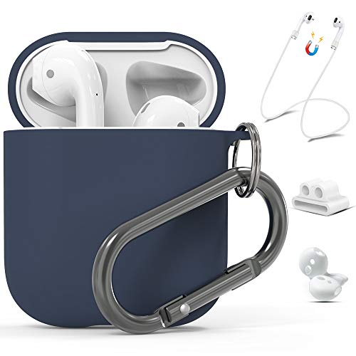 (AirPods Case Cover, AirPods Silicone Case, Food Grade Liquid Silicone Protective Skin Cases for Apple Airpods 1 & 2 Navy Blue with AirPods Strap/Ear Hook/Watch Band Holder/Anti-Lost Carabiner )