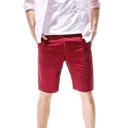 yoyorule Fashion Pant Fashion Mens Casual Pocket Beach Work Casual Short Trouser Shorts Pants Red