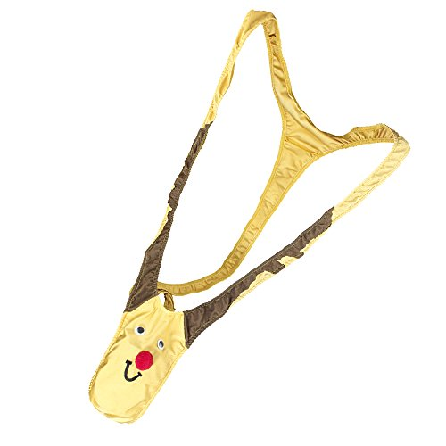 Mankini Thong Christmas Reindeer Patterns Men Novelty Underwear for Gag & Pranks Gifts (Tan), One Size