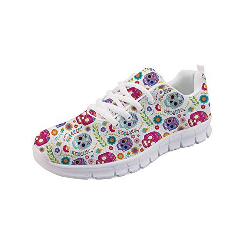 FOR U DESIGNS Women's Running Sneakers Cute Suger Skull Pattern Soft Breathable Walking Shoes Size -