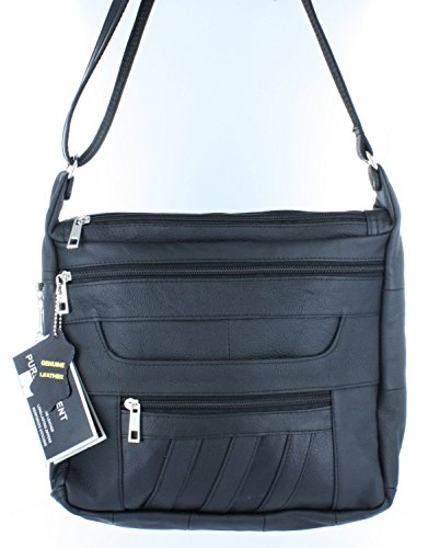 Roma F.C. Black Crossbody or Shoulder Carry Leather Locking Concealment Purse - CCW Concealed Carry Gun Bag