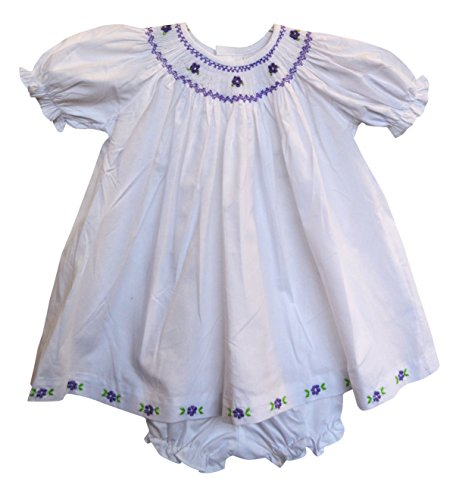 Girls Hand Smocked Bishop Dress w/ Bloomers (Baby) Purple Flowers (9 Months)