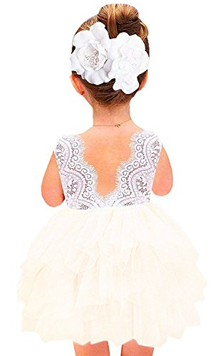 2Bunnies Girl Baby Girl Beaded Backless Lace Back Tutu Tulle Flower Girl Party Dress (Ivory Short Sleeveless, 24M/2T)