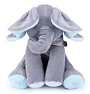 yuailiur Peek-a-Boo Elephant Animated Talking Singing Stuffed Plush Elephant Stuffed Doll Toys Kids Gift Present Boys & Girls Birthday Xmas Gift