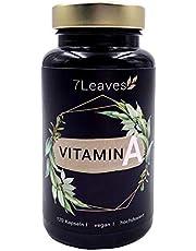 Vitamin A VEGAN & hochdosiert - 10000 iE / 3000 µg Retinol (Retinylacetat) - 120 vegane Kapseln ohne künstliche Zusätze - 7Leaves Premium - made in Germany